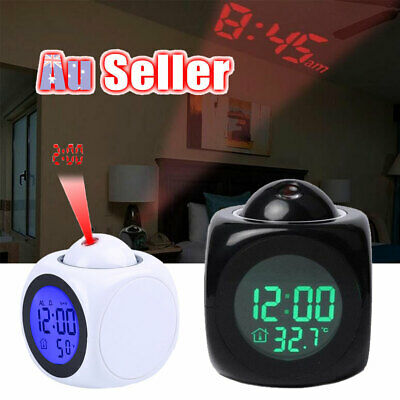 AU15.98 • Buy LCD Display LED Projection Clock Temperature Projector Alarm Smart Time Digital