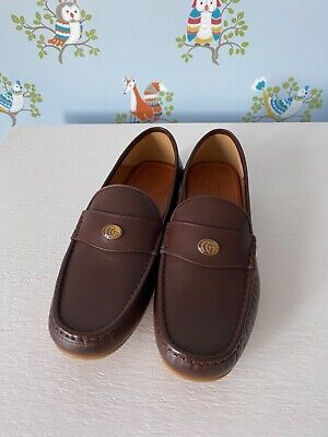 AU411.45 • Buy Gucci New Authentic Drivers Bee GG Brown Leather Loafers