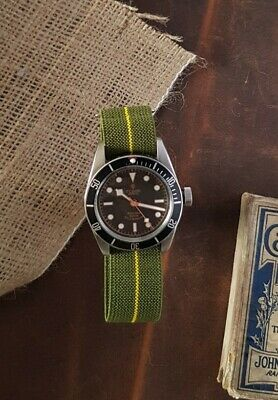 £9.99 • Buy Green & Yellow French Marine Nationale Hooked Elastic Watch Strap 20mm 22mm