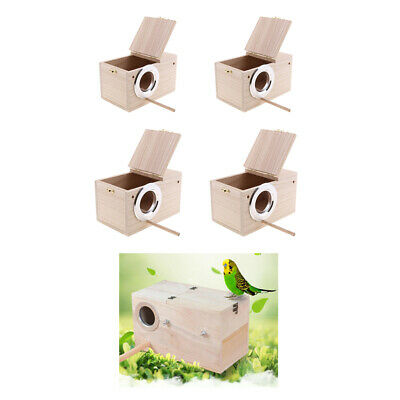 4x Wooden Budgie Nest Nesting Box & Perch For Cage Aviary W/ Opening Top S+m • 40.98£