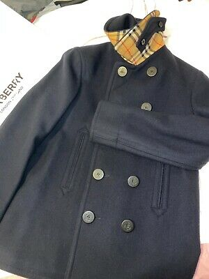 $769.95 • Buy NWT BURBERRY Mens Navy Blue CLAYTHORPE Double Breasted Wool Coat Jacket 42 44