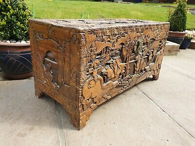 Carved Chinese Camphor Wood Chest Carved With Figures☆Free Delivery See Info ☆ • 395£
