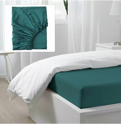 Ikea Nattjasmin Double Fitted Sheet ✅ Dark Green 135 X 190 X 26cm • 18.40£