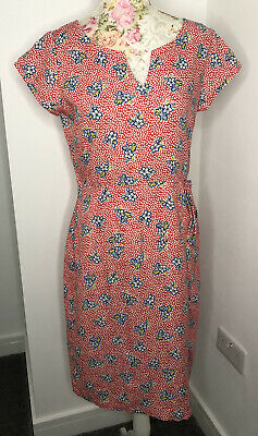 BRORA Vintage Print Dress 100% Linen Summer Red Floral Midi UK10 • 35£