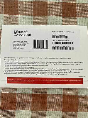 $ CDN48.31 • Buy Microsoft Windows 10 Home 64 Bit Full Version DVD& Product Key Sealed Brand New