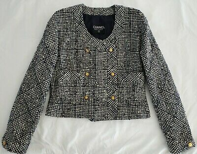 £1150 • Buy Chanel Jacket Navy & Ecru Tweed Cropped Gold Cc Logo Buttons Silk Lined Fr 36-38