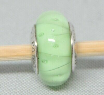 AU10.95 • Buy Authentic Pandora Moments Green Teal Ribbon Glass Charm/Bead Silver 925 790615