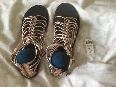 Peacocks - Rose Gold Strappy / Gladiator Style Zip Up Back Sandals Size 7 -bnwt • 10.49£