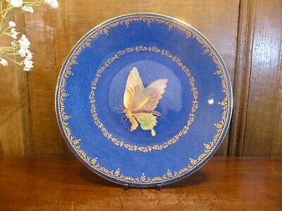£89.95 • Buy ANTIQUE EXCELLENT Wedgwood BUTTERFLY LUSTRE Powder Blue & Gilt PLATE - 23.5cms B