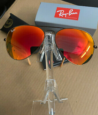 AU97.88 • Buy Sunglasses Ray Ban Aviator RB3025  Bronze Copper Frame Red Mirror Lens