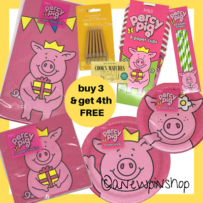 £5.99 • Buy M&S Percy Pig Plates Bowls Cups Straws Napkins Tablecloth Bag Party Kit Marks