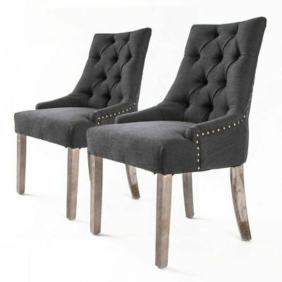 AU125 • Buy 2xDining Chair French Provincial Brass Studded Fabric Oak Legs Cafe AMOUR BLACK