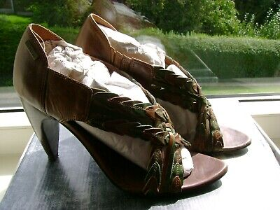 Firetrap Tan/green/gold Gladiator Style Leather Sandals Size 5 • 12.50£