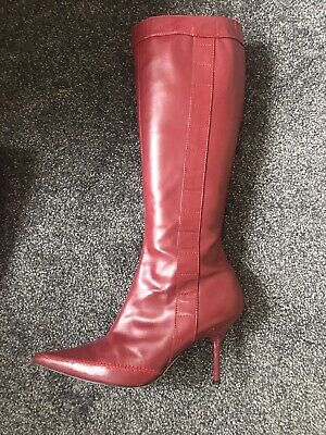 £40 • Buy Dorothy Perkins Burgundy Red Knee High Leather Boots Size U.K.