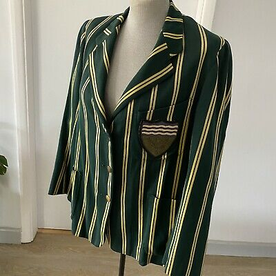 Vintage Lady's Blazer Jacket Taylors Of Cambridge Green Striped Boating Cricket • 59.83£