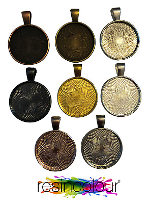 £3.75 • Buy 5 X 25mm Resin Jewellery Pendant Blanks Cabochons Necklace Setting Round Bezel
