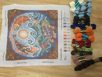 Ehrman Tapestry Kit Flying Fish Origional Canvas. Mixed Wools To Work • 38£
