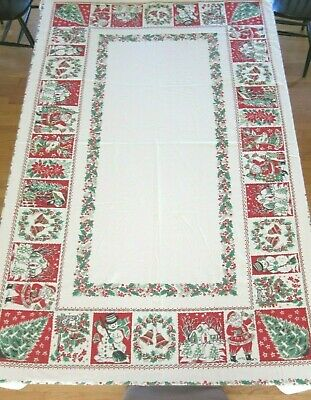 $ CDN121.25 • Buy VINTAGE CHRISTMAS SCENE FIGURES PICTURES TABLECLOTH With HOLLY BORDER  56  X 87