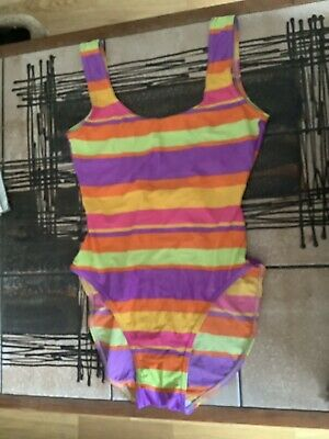 AU23.31 • Buy VINTAGE 70s 80s C&A BRIGHT ORANGE PURPLE SRTIPE SWIMMING COSTUME SWIMSUIT 8-10