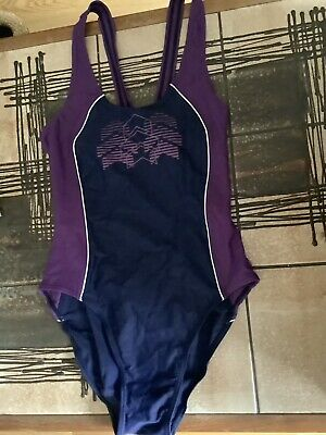 AU14.34 • Buy VINTAGE 80s RODEO SPORTS C&A PURPLE BLUE RETRO SWIMMING COSTUME SWIMSUIT 10 12