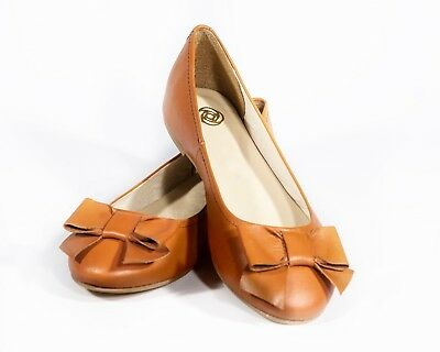 £29.99 • Buy Size 7 (fits Like 6.5)Ladies Tan Leather Ballet Pumps With Bow Trim - Brand New