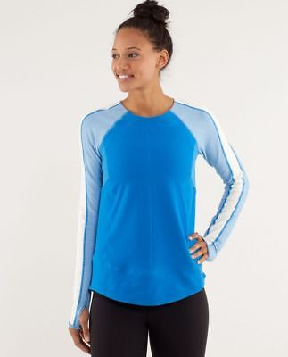 $ CDN101.90 • Buy Lululemon Run Bold In The Cold Long Sleeve Tee Beaming Blue / Polar Cream Size12