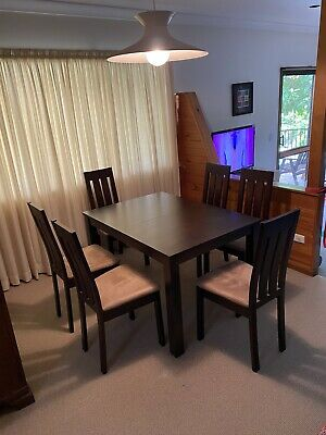 AU450 • Buy Wooden Dining Table & Chairs Set - 7 Pieces - Extendable