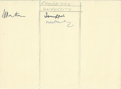 CAMBRIDGE UNIVERSITY Cricketers, White Paper Signed By BREARLEY, LEWIS & HUTTON • 5.99£