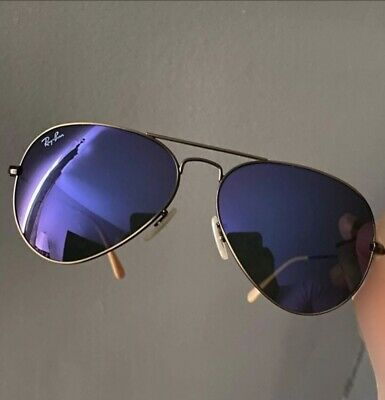 AU52.80 • Buy Sunglasses Ray Ban Aviator RB3025 58mm Frame Bronze-Copper Lenses Violet