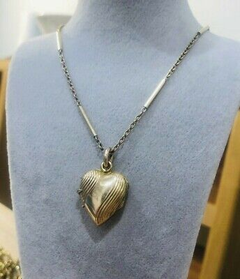 £9.50 • Buy Antique Edwardian Rolled Gold Necklace & Heart Shape Locket/ Pendant Rare 1900s