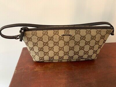 AU333 • Buy Gucci Monogram GG Canvas Leather Small Shoulder Pouch Bag