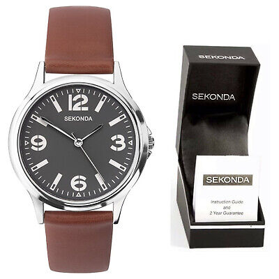 £21.95 • Buy Sekonda Mens Gents Classic Watch With Grey Dial With Brown Leather Strap