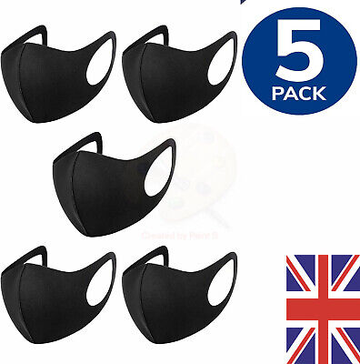 £3.49 • Buy Pack 5 Face Mask Black Reusable Washable Dust Mouth Cover Breathable CHEAP UK