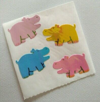 AU1.26 • Buy Vintage 80s Stickers Sandylion Pearly Pastel Hippos