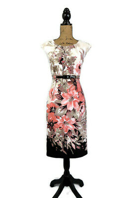 Connected Womens Dress 10 White Peach Black Floral Sheath Belted Cap Sleeve Work • 11.52£