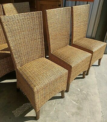 AU120 • Buy Cane Wicker High Back Dining Chairs X6