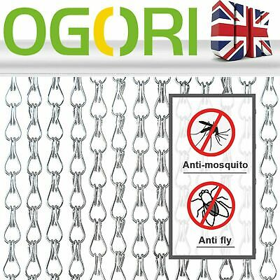 OGORI 214*90CM Aluminum Fly Screen Door Curtain Metal Insect Blinds Chain • 33.99£