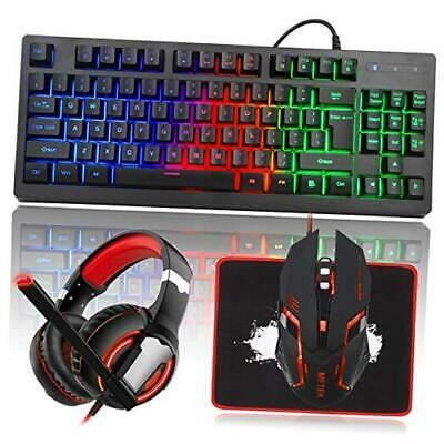 AU74.33 • Buy  RGB Rainbow Backlit Gaming Keyboard And Mouse Combo, LED PC Gaming Headset