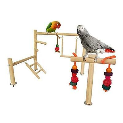 Bird Cage Top Wood Play Stand Set,Parrot Cages Activity Center With Chew  • 18.68£