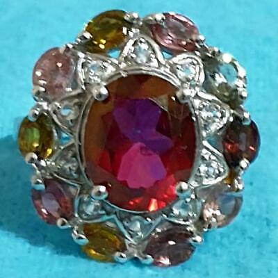 £40 • Buy Vintage Spinel And Tourmaline Sterling Silver Ring Size N 1/2