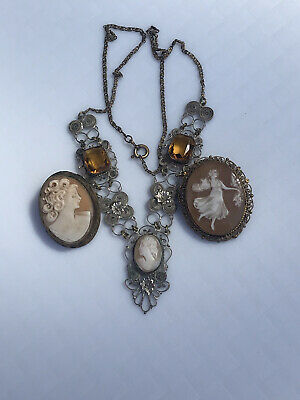 Vintage Filigree Cameo Necklace 2 Broochs • 6.40£