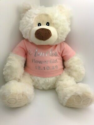 £16.49 • Buy Personalised Teddy Bear Name Flower Girl Bridesmaid Page Boy Wedding Gift Favour