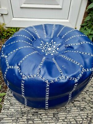 Round Blue Moroccan Leather Footstool Pouffe • 10.20£
