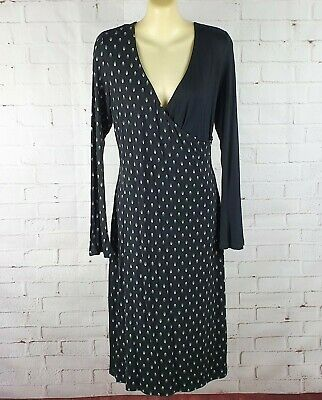 AU21.95 • Buy Target Black White Maternity Midi Dress Size 10 Long Sleeve Wrap Front Stretch
