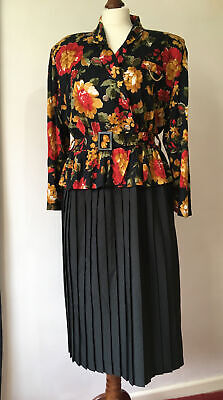 Vintage Dress Size 14 Floral Peplum Top With Pleated Midi Skirt Power Dressing • 15.99£