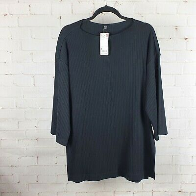 AU19.95 • Buy Uniqlo Women's Wide Ribbed Relaxed 3/4 Sleeve Tunic Black New With Tags Size M