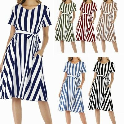 AU24.75 • Buy Women Summer Dress Maternity Short Sleeve Round Neckline Casual Striped Dresses