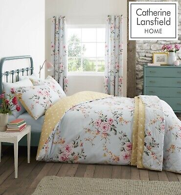 £17.99 • Buy Catherine Lansfield Canterbury Duck Egg Floral Easy Care Duvet Cover Bedding Set