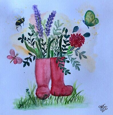 £2.95 • Buy Original Hand Painted Watercolour Greetings Card, Blank.  'Red Boots'