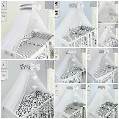 £87.99 • Buy BABY BEDDING SET COT COTBED 3 6 10 14 Pieces PILLOW DUVET COVER BUMPER CANOPY